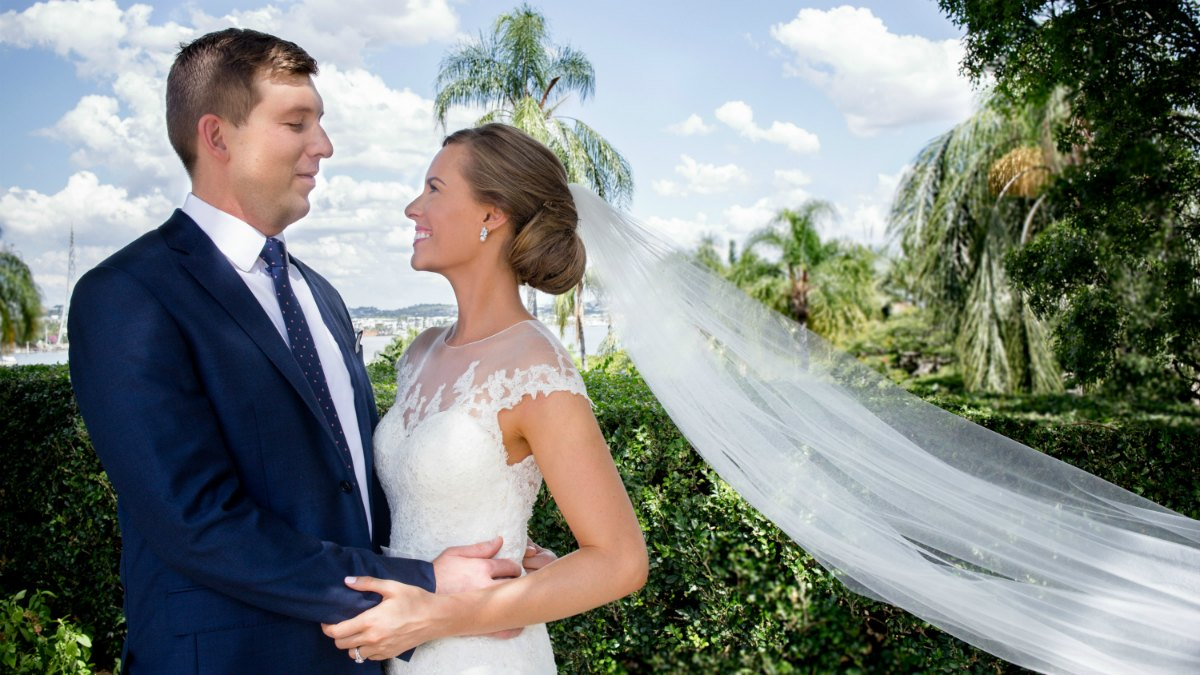 wedding day photo bride and groom pronovias wedding gown