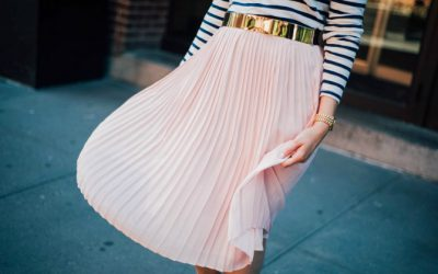 Style Sessions: Blush Pleated Midi Skirt and Stripes – The Perfect Pair!
