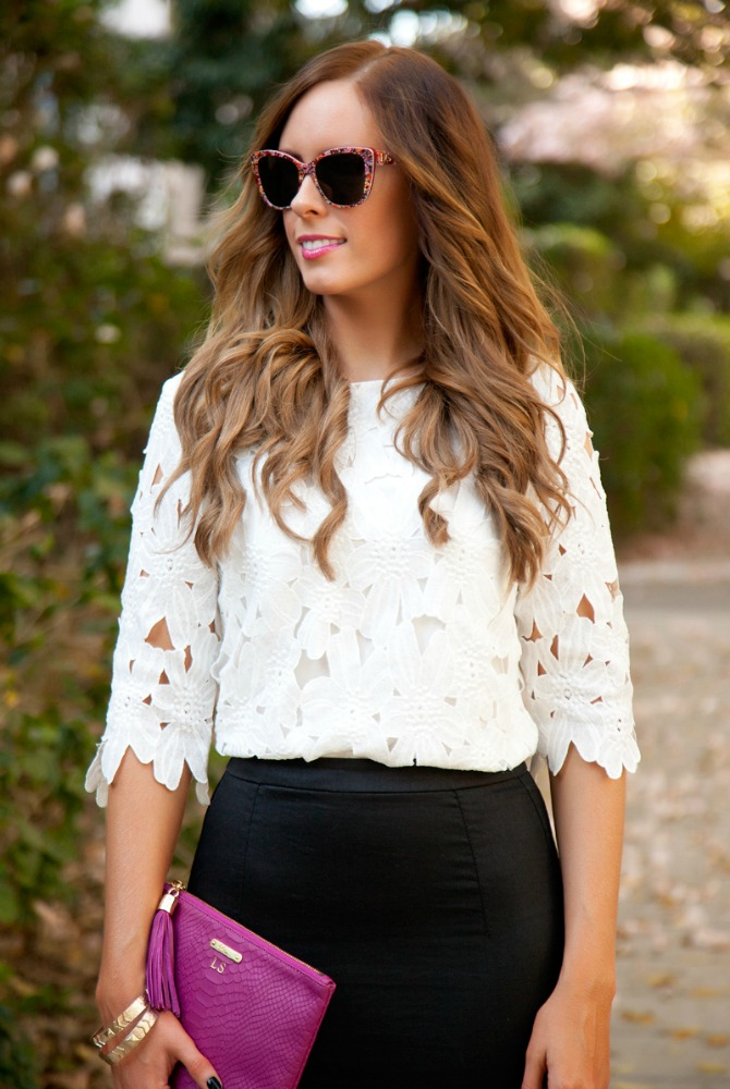 perfect summer outfit ideas fashion blogger floral top pencil skirt floral sunglasses pink fuchsia monogram clutch