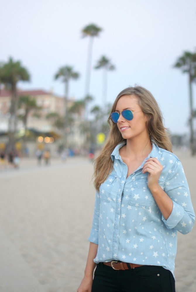 4th of July Outfit ideas blue chambray star shirt