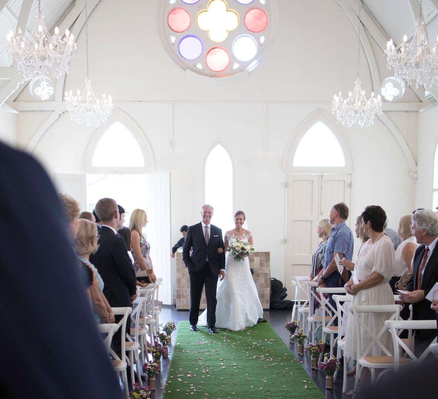 father of the bride walking down the aisle wedding photo high church brisbane pretty white chapel