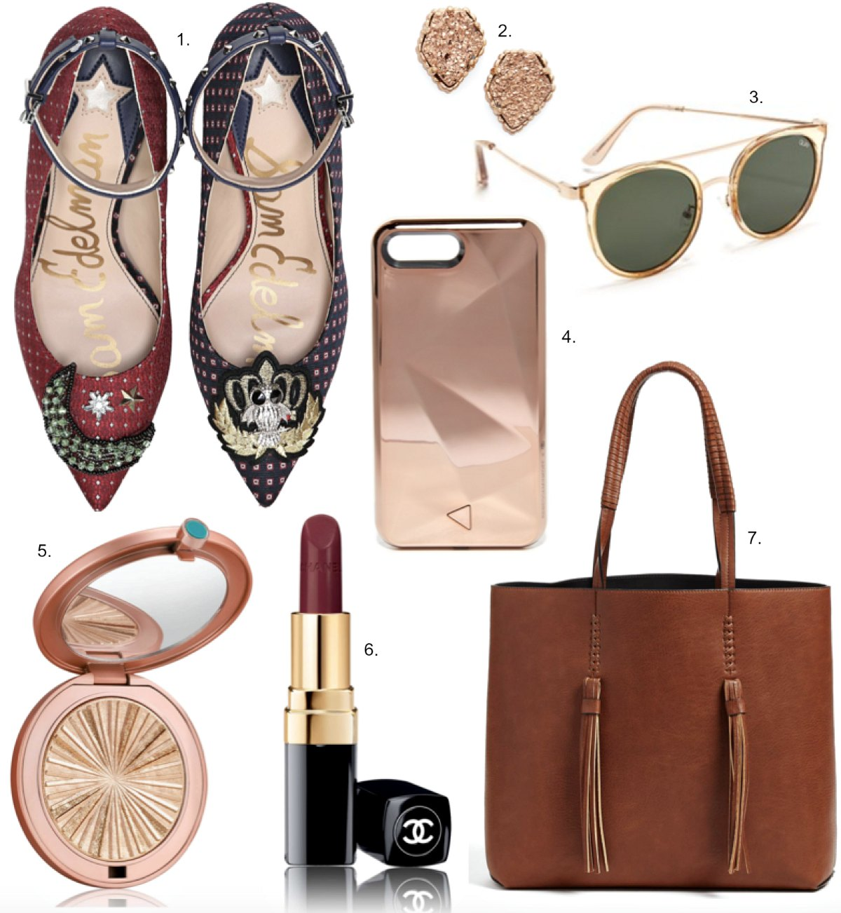 Sam Edelman Hermione Embellished Pumps estee lauderBronze Goddess Highlighter Compact rebeccca minkoff glow iphone light up selfie phone case