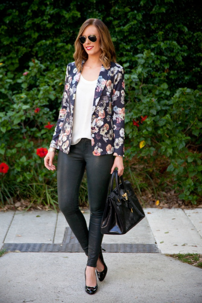 black floral blazer How to wear a blazer
