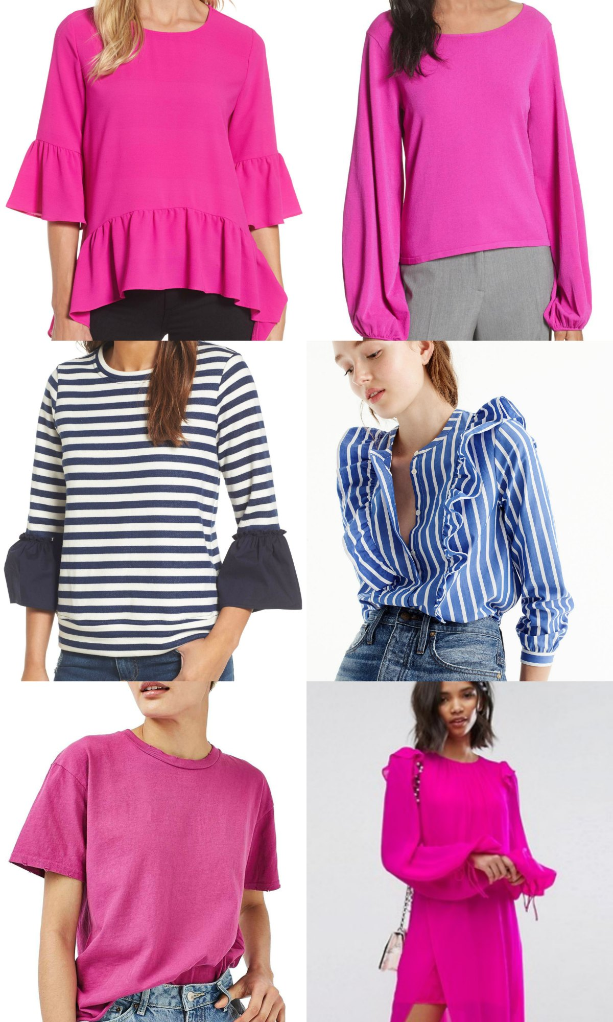 best fuchsia tops and stripes ruffle tops bright outfit ideas