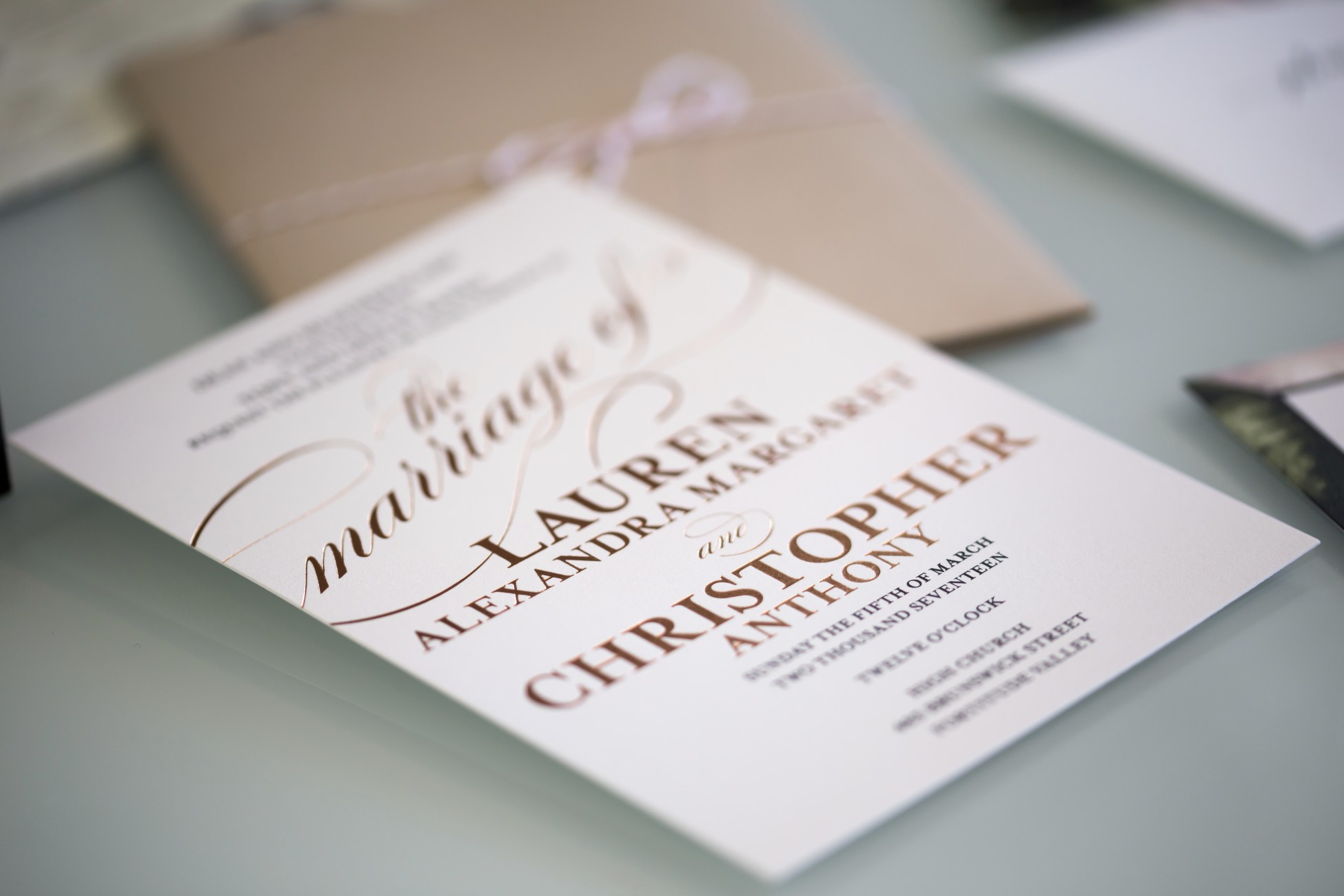 white and rose gold beautiful wedding invitations idea neutral stylish invitations