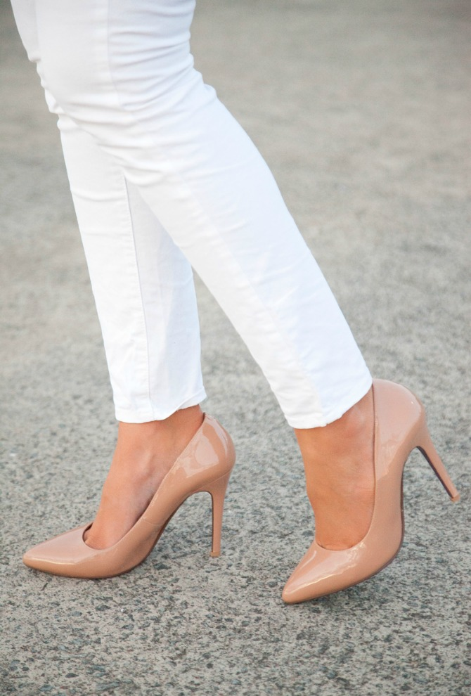 Wear With Anything neutral nude heels with white jeans