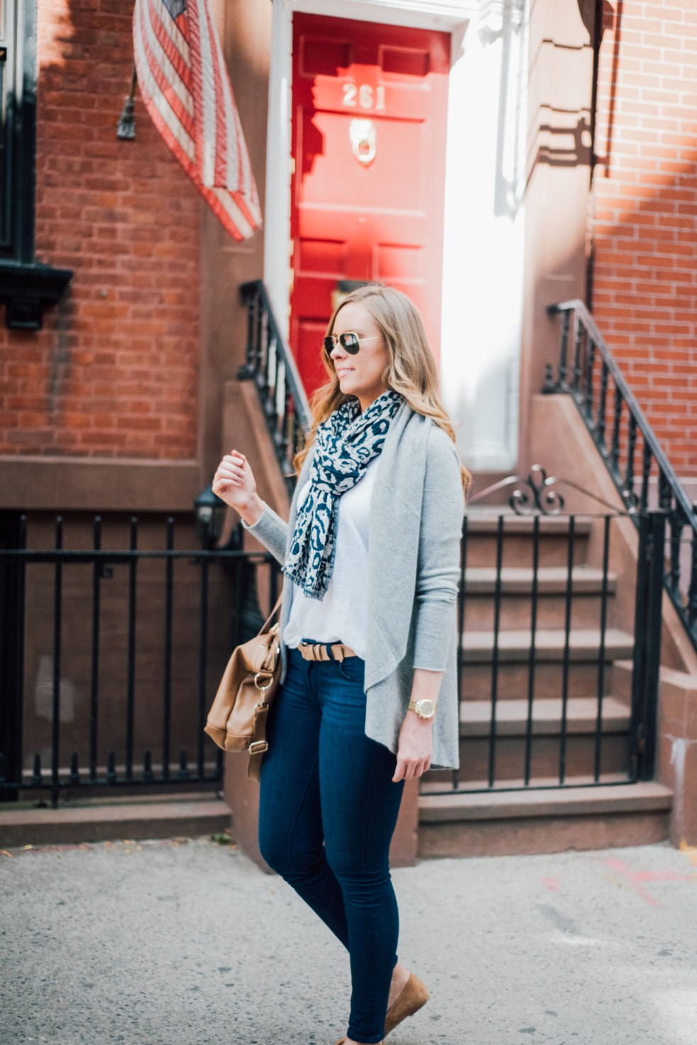 3 Wardrobe Basics Every Stylish Girl Needs grey cashmere sweater paige blue denim jeans white linen tee