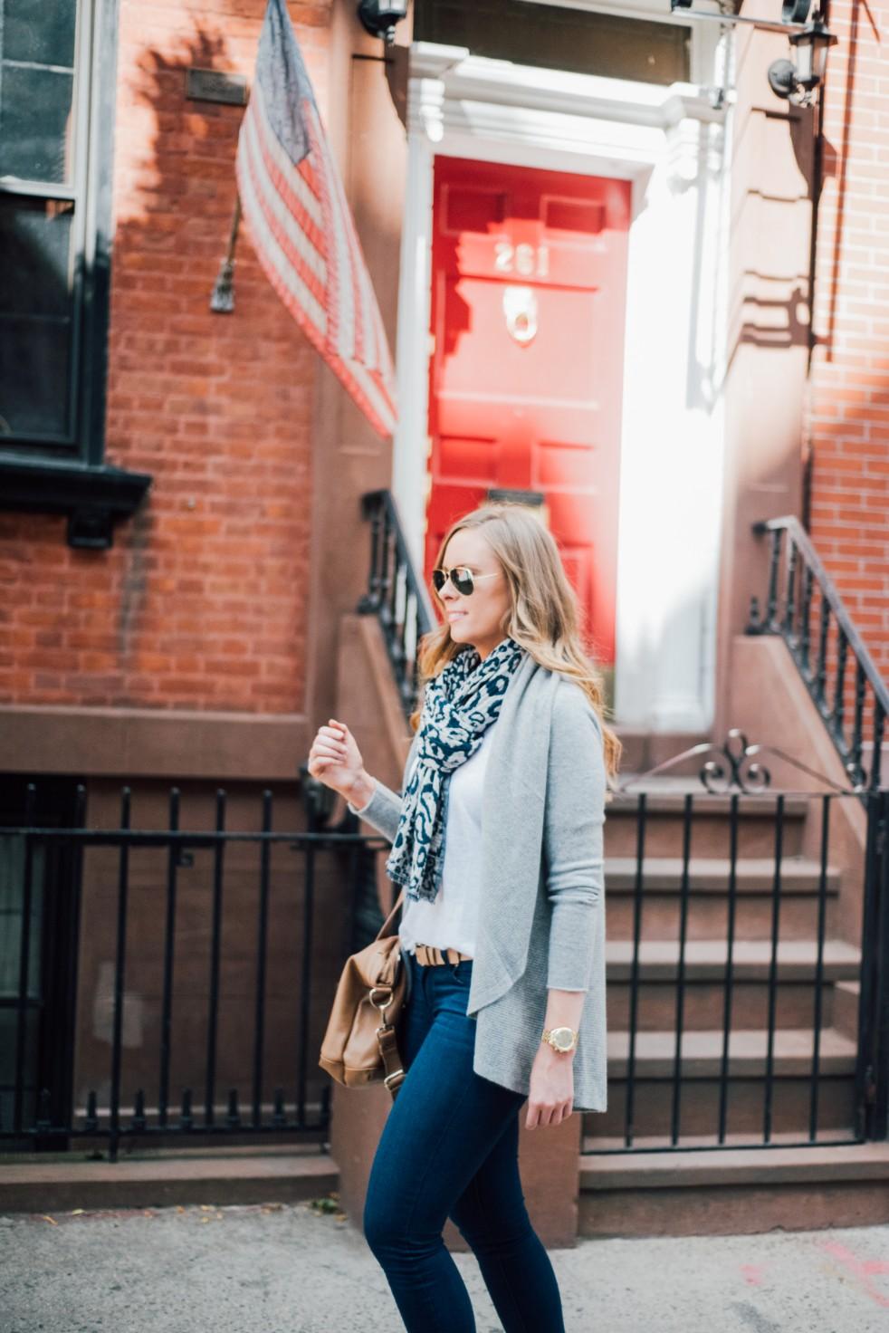 3 Wardrobe Basics Every Stylish Girl Needs grey cashmere sweater paige blue denim jeans white linen tee new york blogger soho