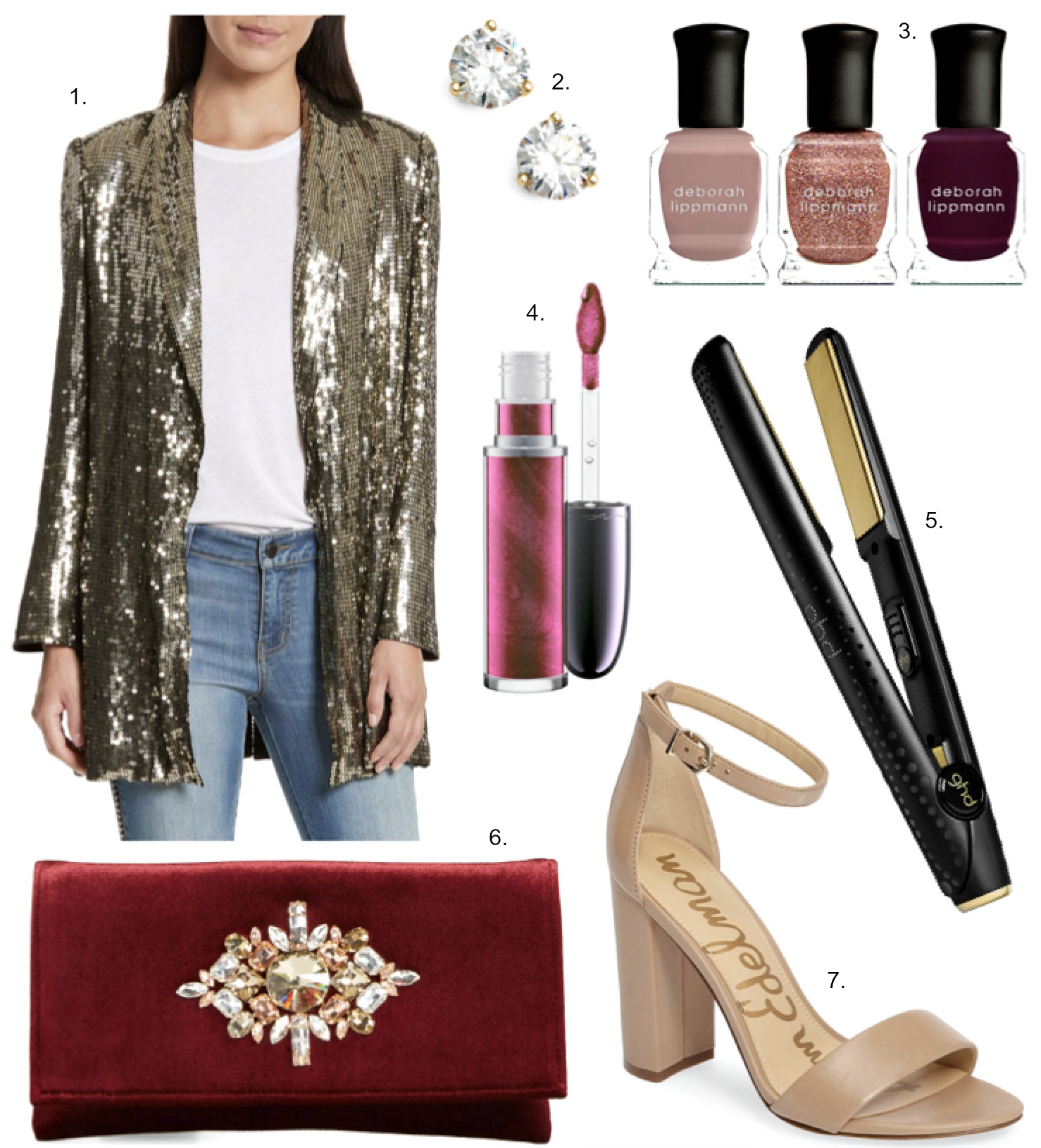 holiday party outfit ideas alice and olivia jace sequin blazer M.A.C Grand Illusion Glossy Liquid Lipcolor
