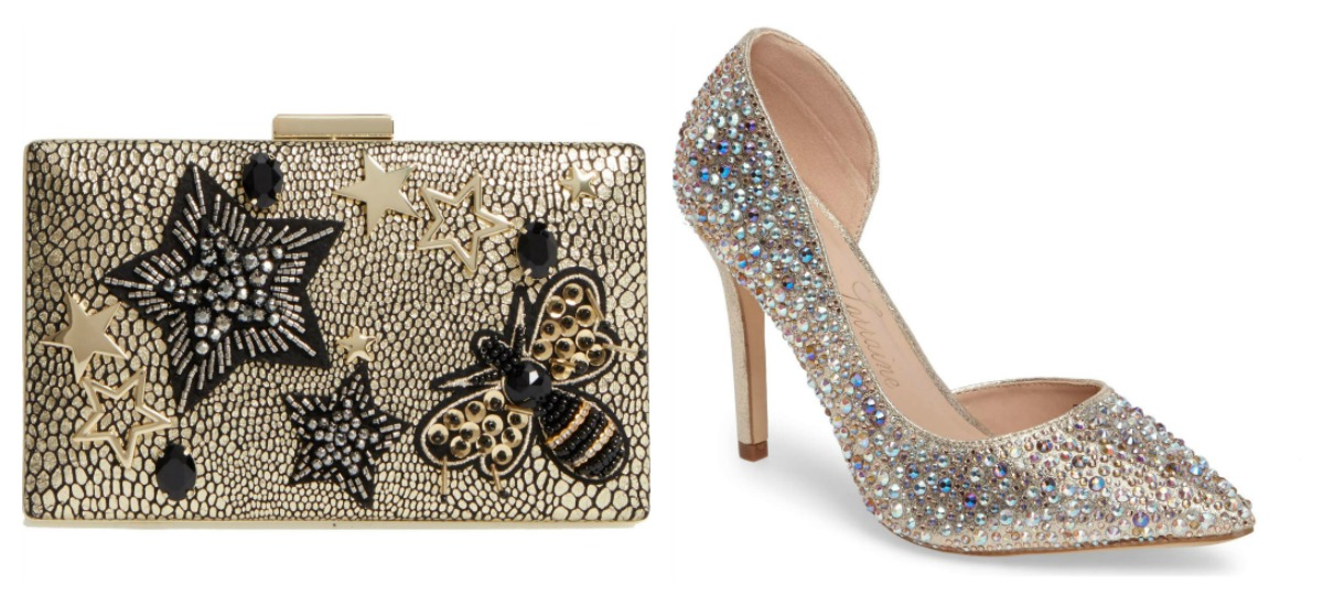 holiday party outfit ideas gold metallic clutch sequin embellished heels sale