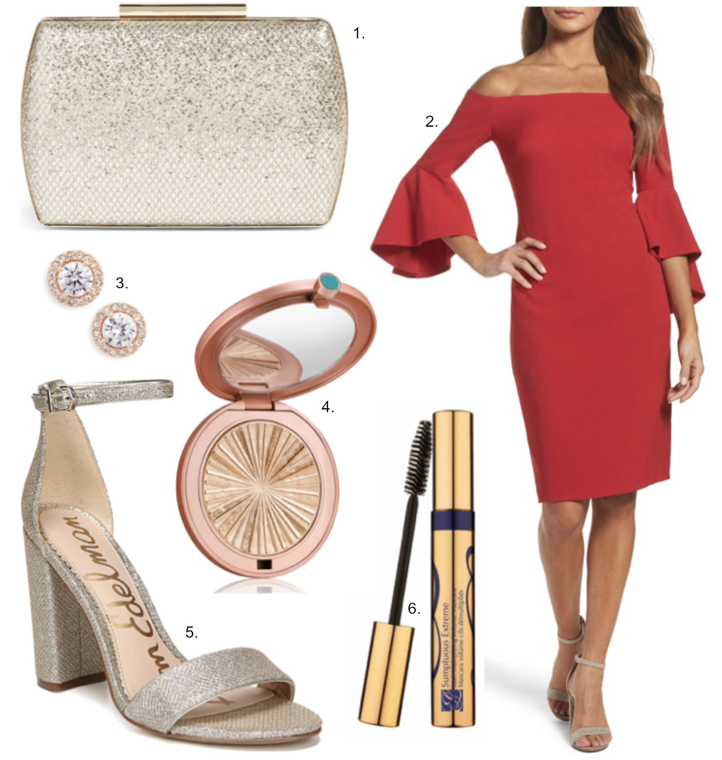 holiday party outfit ideas red dress sequin heels