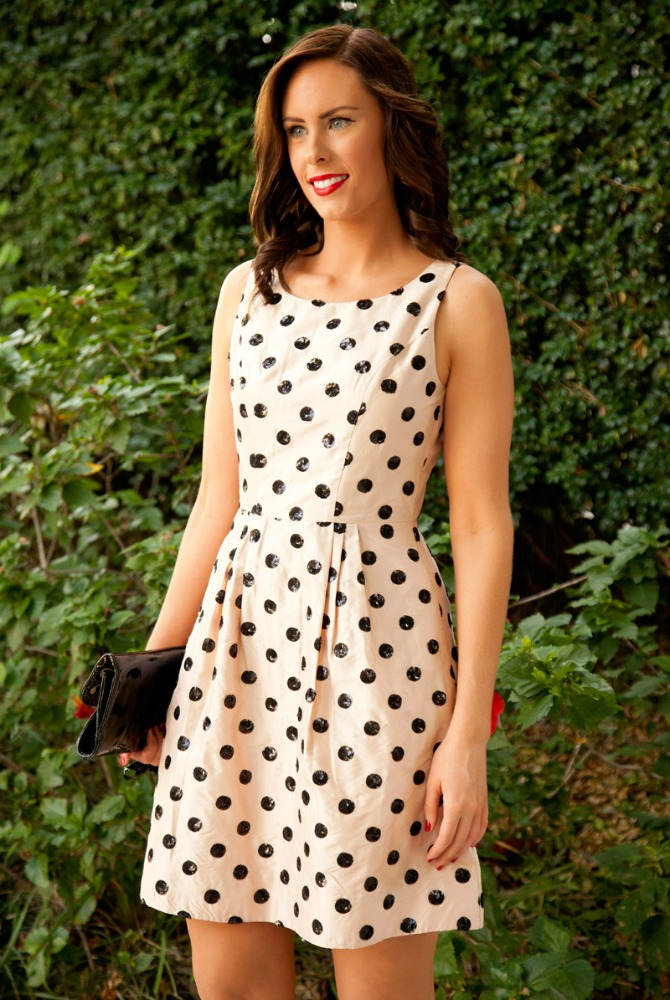 New Years Eve Outfits sequin polka dot fit and flare dress kate spade style blush pink party dresses 7