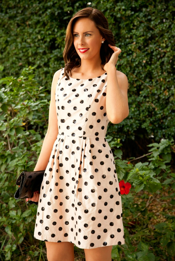 New Years Eve Outfits sequin polka dot fit and flare dress kate spade style blush pink party dresses