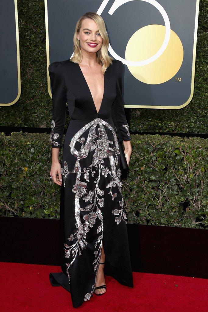 Margot-Robbie globes fashion 2018 hollywood blackout best dressed