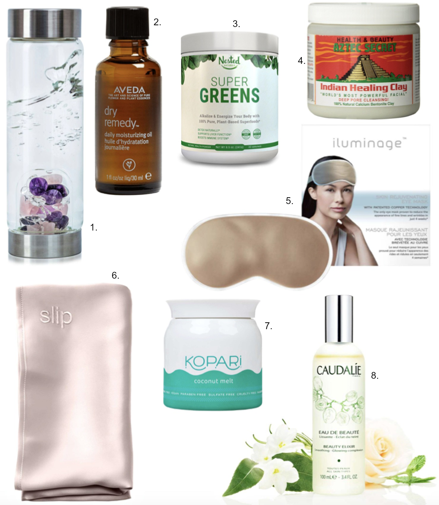 New Year Wellness and Beauty products blogger beauty tips product reviews aztec clay mask glass water bottle with crystals