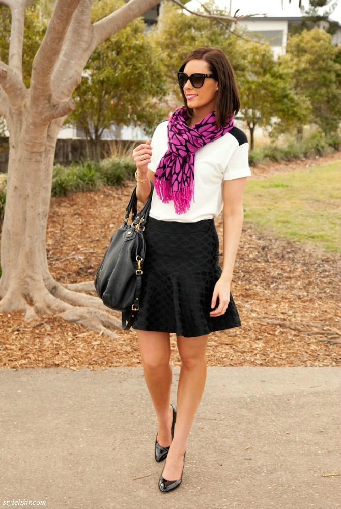 Main TDM By Nepali Scarf Mejuri Bracelet Marc By Marc Jacobs Handbag Patent Heels Black Swing Skirt Monochrome trend White Top