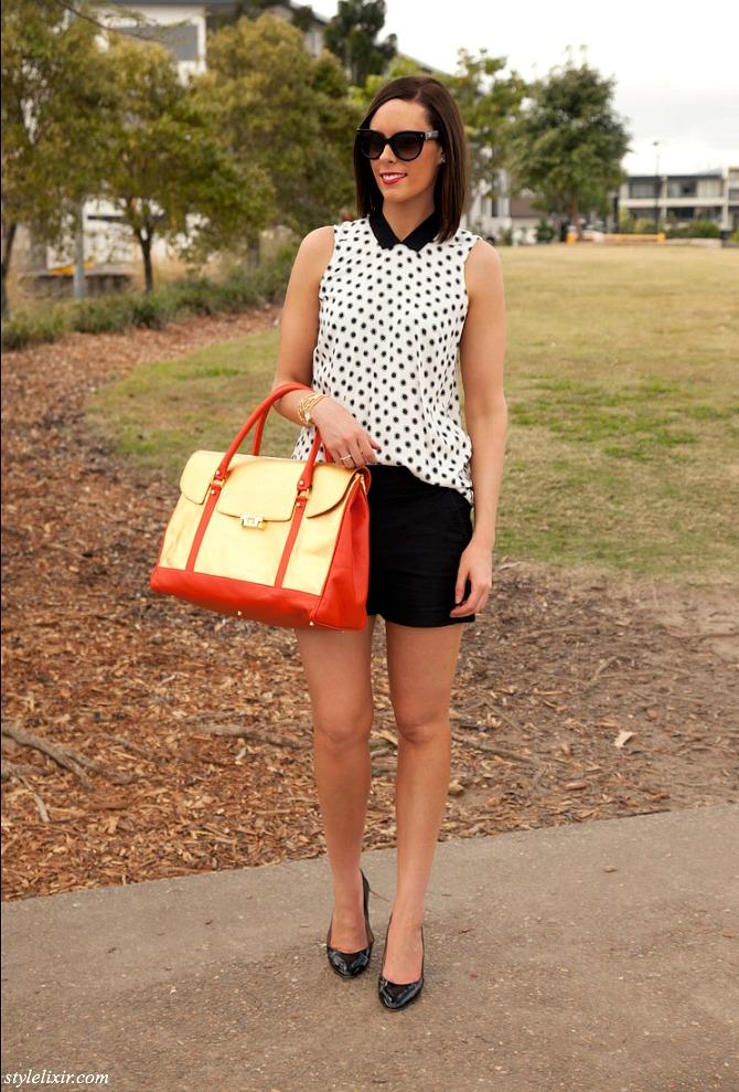 Polka-Dots-Peter-Pan-Collar-Gold-metallic-Handbag-Mi-Piaci-Country-Road-Fashion-Style-J.Crew-Patent-Heels-Prada-Sunglasses-Jewelry-Bracelets-Black-Shorts-Monochrome-Trend-Blogger-Style-Elixir-www.stylelixir.com-Style-Sess