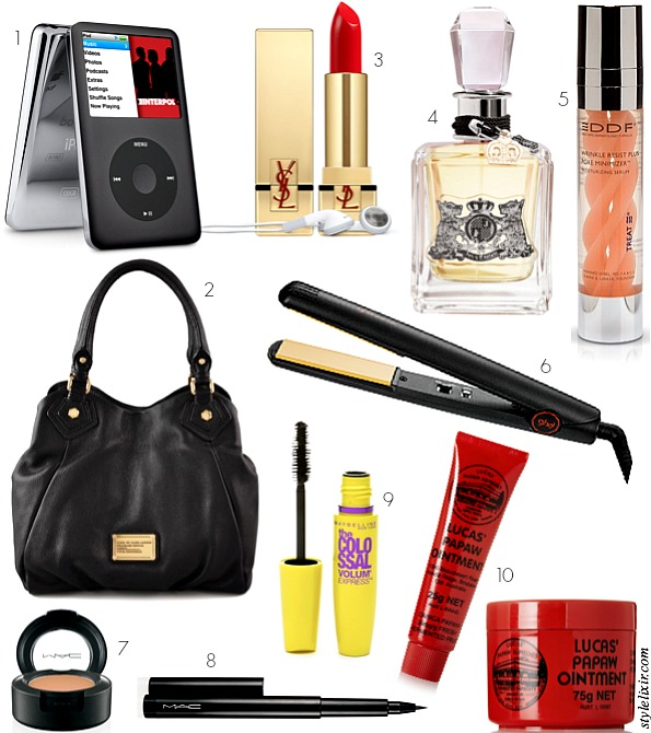 Ten Things I use Everyday and can't live without beauty fashion lipstick concealer best favorite mascara eye liner perfume juicy couture MAC makeup ipod marc jacobs handbag papaw ointment GHD flat irons DDF wrinkle moisturizer style elixir blog