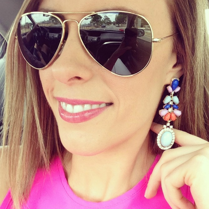 Christmas Day Ray Bans Gifts Sparkle Earrings Bright Pink Top Fashion Style Elixir Blog www.stylelixir.com