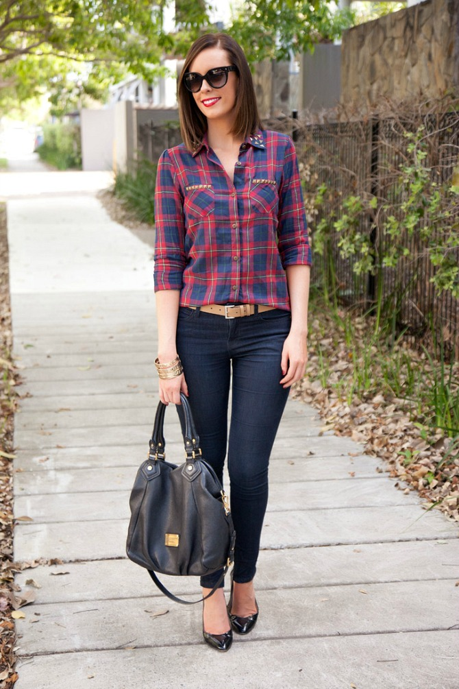 b7624bf8ca 1 Plaid Shirt Tan Belt Dark Skinny Jeans Marc Jacobs Handbag Black Patent  Heels Prads Sunglasses