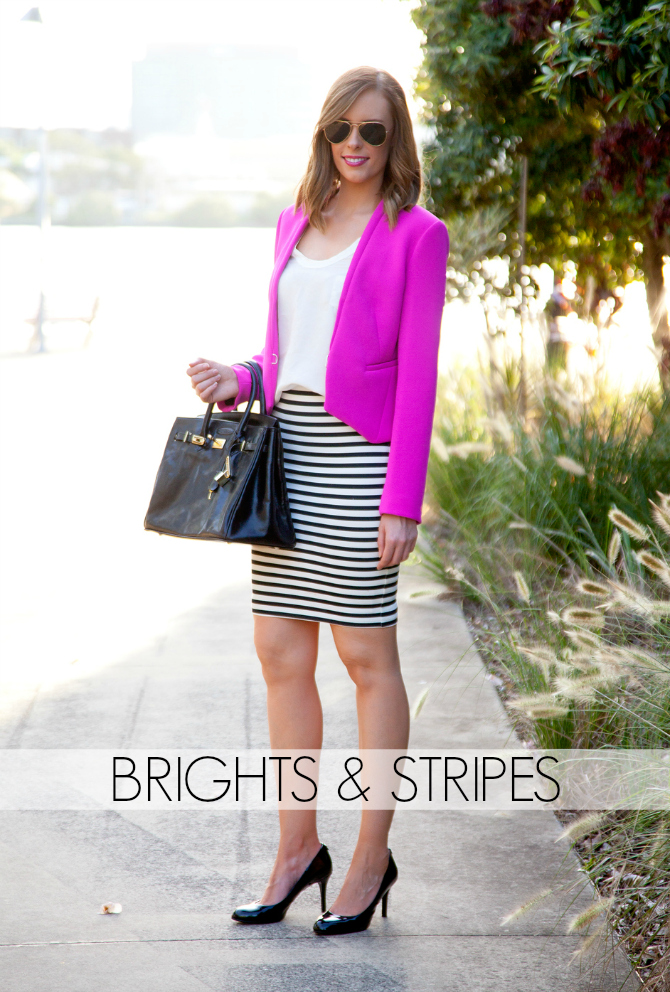 Style Sessions Fashion Link Up Spring Style - Brights and Stripes Fucshia Trends Summer 2014 Blogger Style Elixir www.stylelixir.com Blog Womens Lifestyle Shop On Sale Diane Von Furstenberg DVF Ray Ban Aviator Sunglasses Michael Kors Black Patent Heels Nordstrom