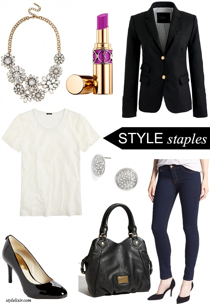 Style Staples Fashion Must Have Classic Wardrobe Basics Black Blazer J.Crew Bauble Bar statement crystal necklace YSL radiant orchid lipstick pave stud earrings Michael Kors black patent heels J.Brand Jeans Marc by Marc Jacobs Classic Q Fran Handbag
