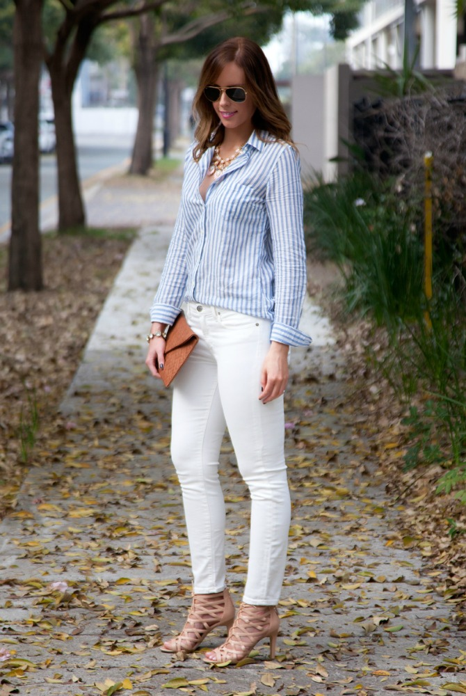 Blue and White Stripes J Crew relaxed weekend style fashion blogger style elixir www.stylelixir.com blog ray ban sunglasses lauren slade