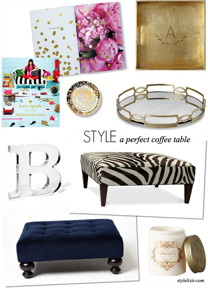 how to style a perfect coffee table west elm williams sonoma lulu and georgia lifestyle home decor kate spade book monogram gold zebra ottoman leopard fashion interios blog www.stylelixir.com Style Elixir blogger