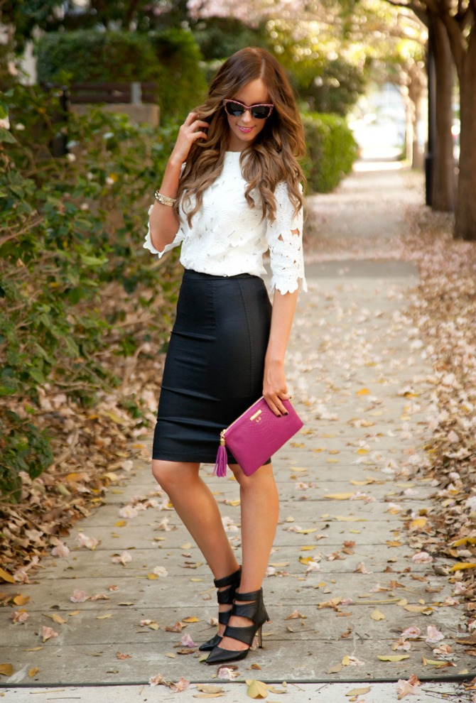 monochrome and magenta black and white style gigi new york monogram clutch bellami hair extensions lily ghalichi hair style elixir www.stylelixir.com fashion blog lauren slade blogger