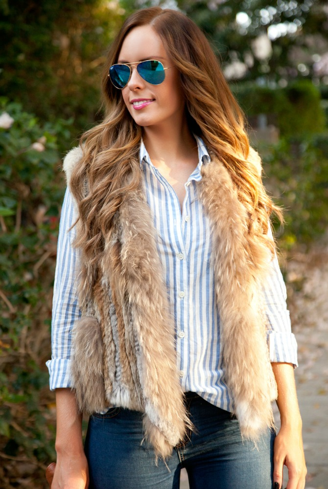 Fall fashion fur vest gilet lace up nude heels tan clutch j.crew stripe shirt button down ray-ban blue mirrored aviator sunglasses bellami hair extensions lilly hair ghalichi glam Nine West Authority heels style elixir blog www.stylelixir.com fashion blogger