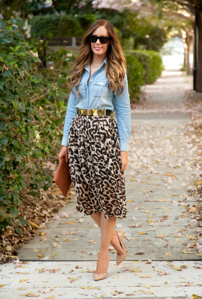 Leopard Skirt Chambray Shirt J.Crew Sheinside Kate Spade patent heels celine sunglasses original gold bow belt opi lincoln park after dark fashion blogger style elixir www.stylelixir.com blog
