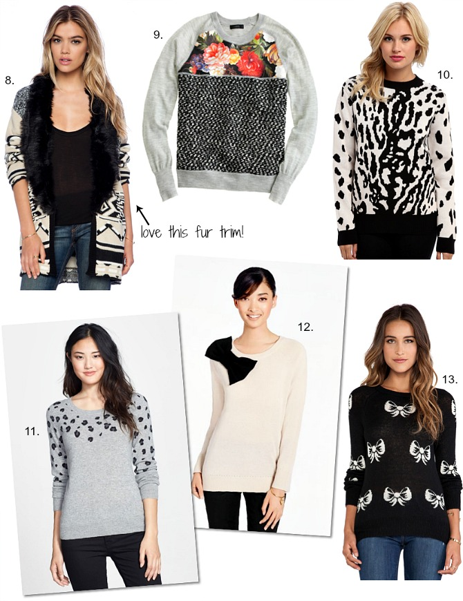 sweater weather pretty fall outfit fashion blogger stripe sweater bow sweater polka dot sweater leopard jumper
