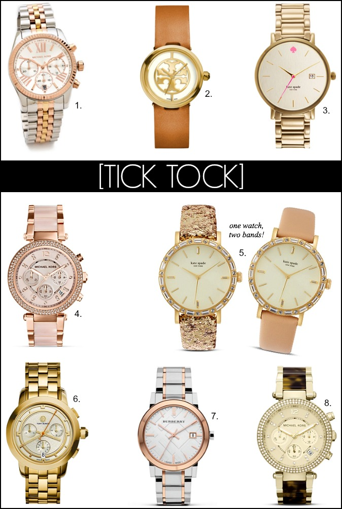 Tory Burch Kate Spade Michael Kors Burberry Watch Designer Watches yellow gold rose gold silver white gold fashion style elixir blog www.stylelixir.com fashion blogger