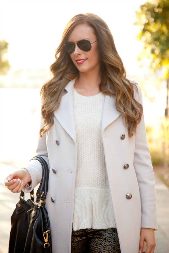 Perfect womens cream coat for winter fashion blogger style elixir lauren slade blog marc jacobs handbag ray ban aviator sunglasses gold metallic pants knit sweater peplum red lipstick fall winter trends bellami hair extensions ash brown lilly ghalichi hair