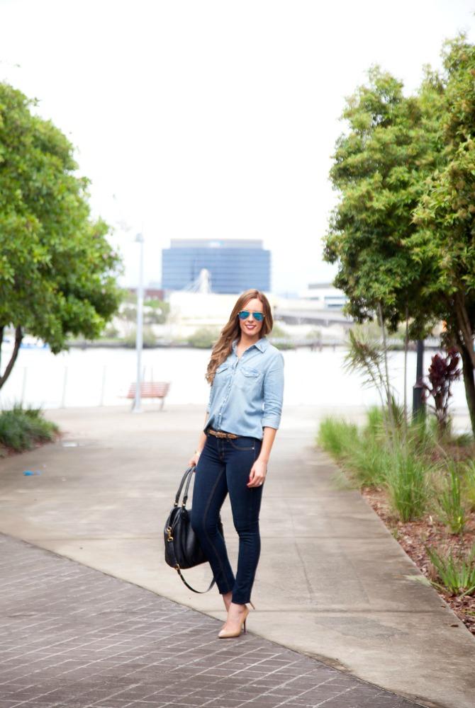 how to wear denim on denim sears celebrity fashion jeans blogger style blog www.stylelixir.com style elixir lauren slade