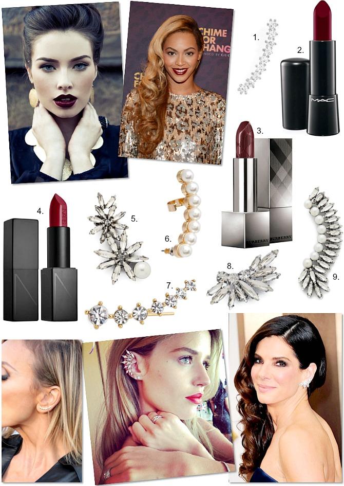 Oxblood Lipstick and Ear Crawler Cuff Fashion Trends Winter Fall Celebrity Style NARS lipstick M.A.C Lipstick Burberry Lipstick Shopbop earrings style elixir blog usa blogger www.stylelixir.com