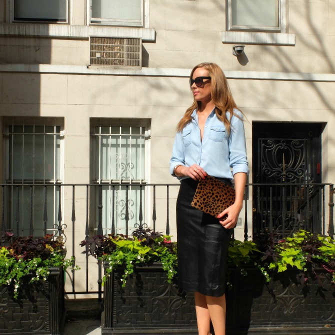 Clare v leopard clutch new york city street style fashion blogger leather skirt chambray shirt style elixir lauren slade www.stylelixir.com
