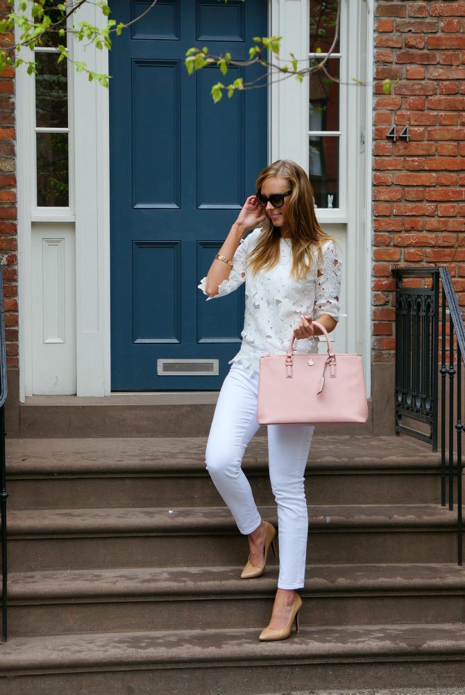 white on white tory burch blush pale pink handbag