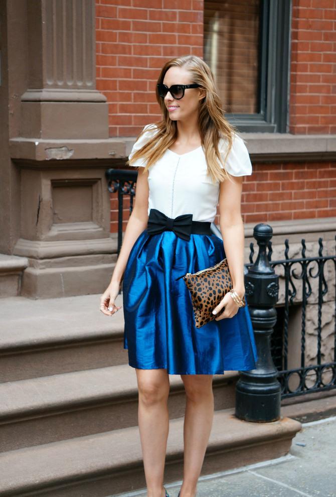 bow belt blue a line fit and flare skirt prada sunglasses clare v leopard clutch west village new york fashion blogger style elixir lauren slade