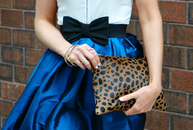 New York fashion blog west village fashion bloggers clare v leopard clutch prada sunglasses flare skirt black bow belt lauren slade style elixir blog