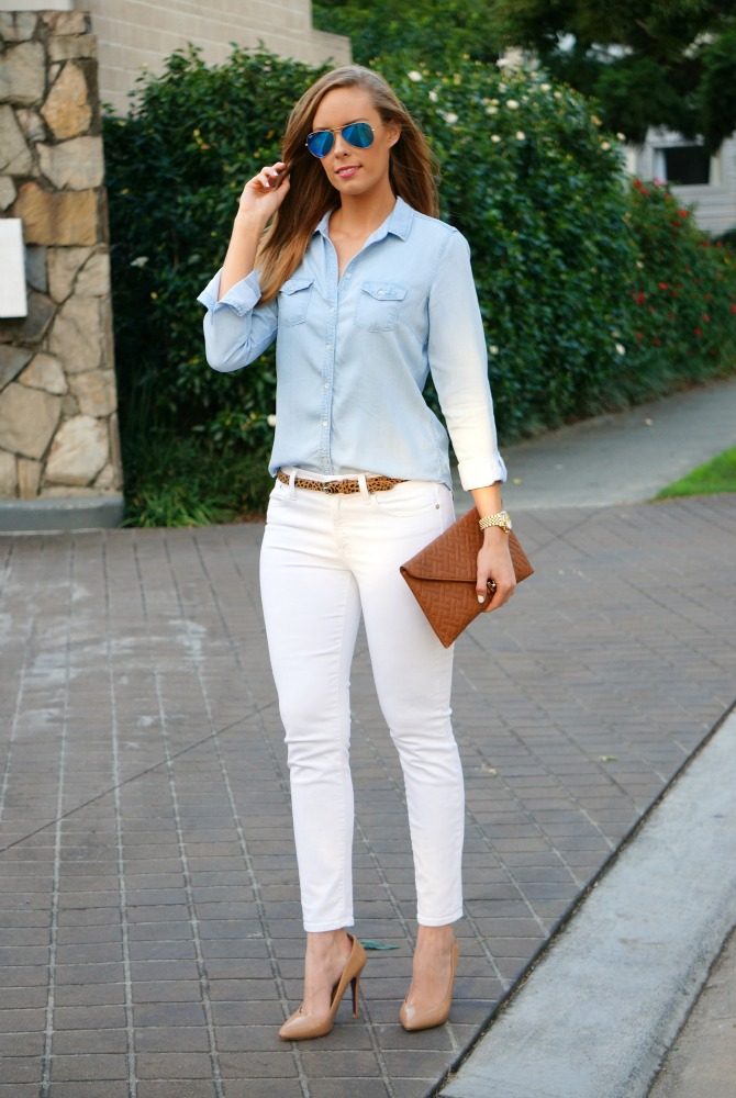 98e66908db White Jeans and Chambray shirt wear white after labor day lauren slade  style elixir fashion blog