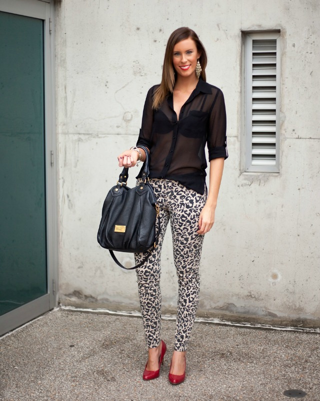 Leopard Pants jeans red patent heels black sheer blouse marc jacobs fran bag lauren slade style elixir fashion blog new york blogger