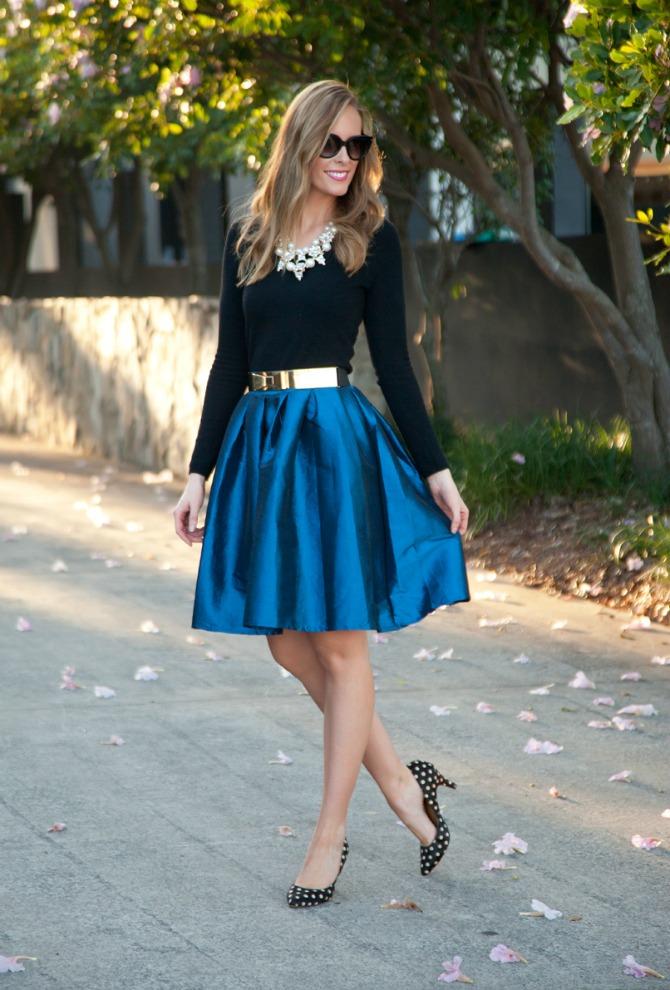 Bloggers Closet Cobalt Blue Flare Skirt sale lauren slade style elixir blog new york blogger shop my closet