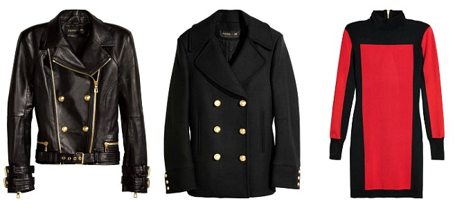 Balmain X H&M Preview - Leather Jacket, $399    |    Wool Blend Pea Coat, $199    |    Color Block Turtle Neck Dress, $69.99