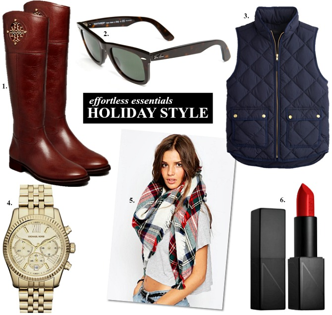 perfect holiday outfit ideas christmas style down vest tory burch tan riding boots plaid scarf nars best red lipstick