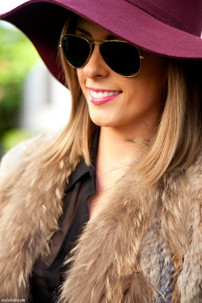 how to style a fur vest burgundy hat black boots fashion blogger outfit new york blog style elixir lauren slade