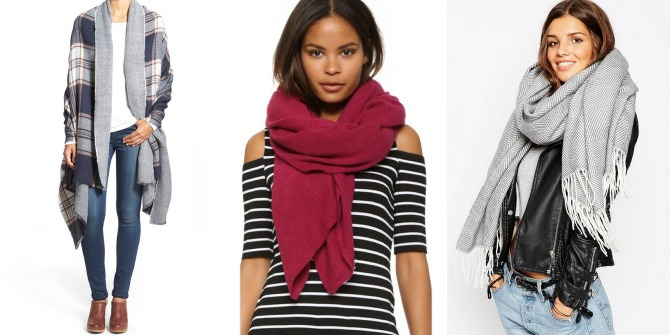 Oversized plaid scarves cashmere