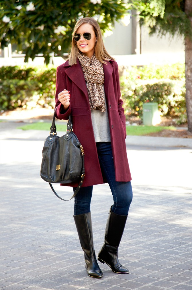 The Best Winter coat michael kors coat winter wool leopard scarf tall black knee high boots fashion blogger new york style lauren slade style elixir blog