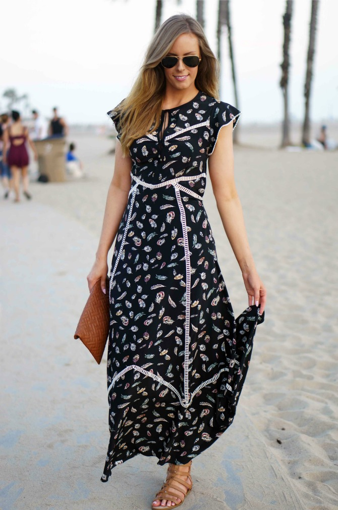 2 Style-Elixir-Santa-Monica beach style fashion the kooples feather maxi dress la fashion blog lauren slade boho fashion