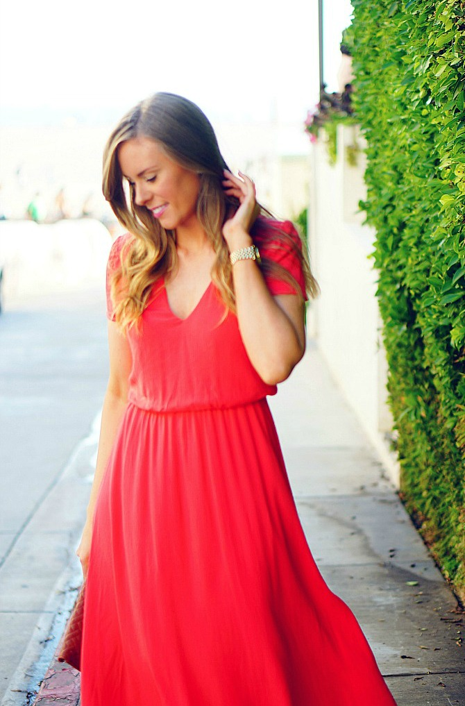 6 wayf blouson midi dress coral los angeles blogger lauren slade santa monica sunset style elixir fashion blog